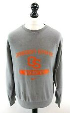 NIKE OREGON STATE ROWING Mens Jumper Sweater S Small Grey Orange Cotton Poly