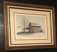 "Tom Butler Signed Framed Matted Art Print Mayo River Collection - Cabin 17""x14"""