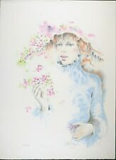 Numbered Signed, Vintage Lithograph, 30 x 22 in, Girl and Flowers, Collectible S