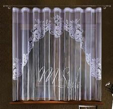 "Stringa Net Curtain Panel Bianco Pleat ganci nella parte superiore W = 118 "" (300cm), L = 71"" (180cm)"