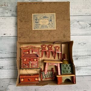 VIntage Dora Kuhn Red Kitchen Set German Hand Painted NOS - 9 pcs Original Box