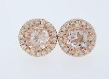 Nuevo 14k Oro Rosa 1.0ct Redondo Morganita & .30ct Diamante Halo Dormilonas