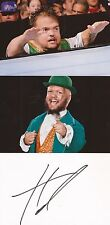 WWE WRESTLING: HORNSWOGGLE SIGNED 6x4 WHITECARD+2 UNSIGNED PHOTOS+COA