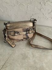 B.Makowsky Camouflage Leather Zip Top Convertible Crossbody Bag Desert