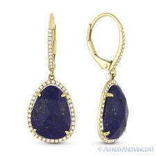 7.48ct Blue Lapis Round Cut Diamond Pave 14k Yellow  Gold Dangling Drop Earrings
