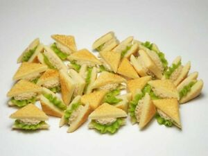 100 Dollhouse Miniature Tuna Sandwiches * Doll Mini Food Bakery Bread WHOLESALE