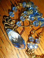 VTG Pale Sapphire Blue Teardrop Czech Crystal Glass Deco style Necklace Earrings