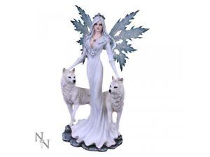 AURA Extra Large 60.5cm Fairy & Wolf Angel Figurine Wolves Nemesis Now Free P+P
