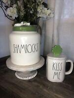 Rae Dunn SHAMROCKS Canister St. Patrick's Day NEW 2021 RELEASE & Kiss Me Mug