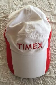 TIMEX HEADSWEATS Cap Hat Keeps On Ticking Adjustable Embroidered White & Red