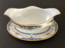 Fraureuth Germany Belvedere Flowers, Blue, Gold - GRAVY BOAT W/ UNDERPLATE