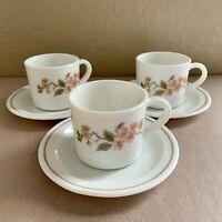 Pyrex England Tea Coffee Cups & Saucers 3 Sets Cherry Blossom