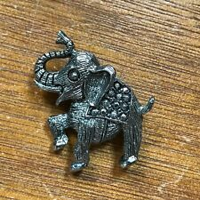 Estate Small Silvertone Asian Elephant with Tusk and Faux Marcasite Blanket Broo