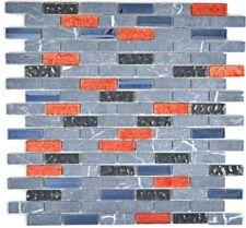 Mosaico Mattone Vetro Pietra traslucido Grigio Nero Rosso bagno 87-0429 |1foglio