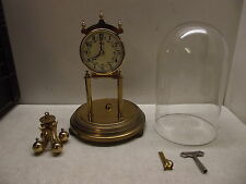 VINTAGE GERMAN KUNDO ANNIVERSARY CLOCK PORCELAIN DIAL GLASS DOME CLOCK WITH KEY