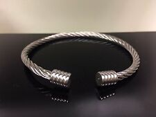 Stainless Steel Cable Wire and Knobbed End Cuff Bracelet