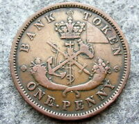 CANADIAN PROVINCES - UPPER CANADA 1854 ONE PENNY BANK TOKEN