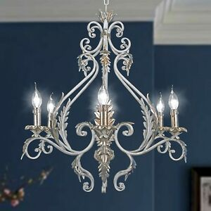 Chandelier Wrought Iron 6 Lights White And Leaf Gold Leaf Large Forged