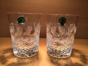 """2 WATERFORD MILLENIUM """"PEACE"""" DOUBLE OLD FASHIONED GLASSES NIB"""