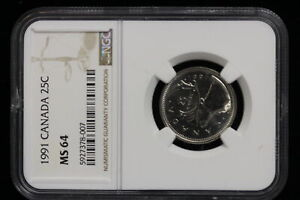 1991 Canada. 25 Cents. NGC Graded MS-64