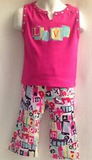 FLOWERS BY ZOE NWT Boutique Toddler XL 24m LOVE Tank Pants Set Pink Rock Roll