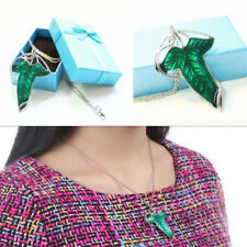 New Lord of The Rings Green Leaf Elven Pin Brooch Pendant Necklace with Gift Box