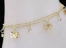 Butterfly Rhinestone Double Ankle Bracelet New Women'S/Junior' S Beautiful Gold