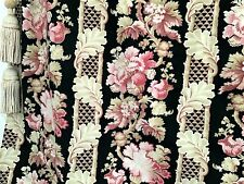 Antique French Fabric Printed Cotton 19th Century  Floral Stripe