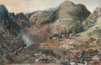 HOUSES IN MOUNTAIN LANDSCAPE Small Victorian Watercolour Painting c1880
