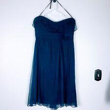 Amsale Womens Silk Chiffon Dress Size 16 Empire A-Line Formal Navy Bridesmaid