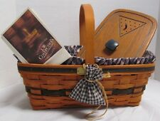 1993 Longaberger J.W. Collection Easter Basket Complete with Lid- Game Basket