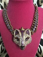 Betsey Johnson Imperial Princess HUGE Purple Crystal AB Glitter Fox Necklace