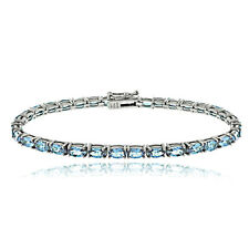 Sterling Silver 7.75ct Swiss Blue Topaz 5x3mm Oval Tennis Bracelet