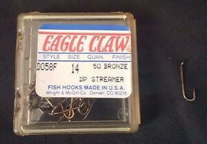 1 Pack 50 Pcs Eagle Claw D058F DP Streamer Fishing Hook Bronze Size 14