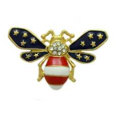 Patriotic Red, White, and Blue Enamel and Crystal Bee Brooch Pin - PRI172