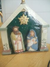 Kurt S Adler Nativity Set , Mary, Baby Jesus, Joseph. Overhead Star In Stable