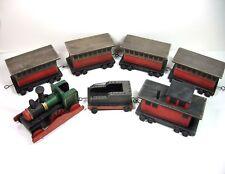 TIMBER TOT TRAINS Wood 7 pc Set Engine, Coal, Caboose, 4 Passenger Cars Repro