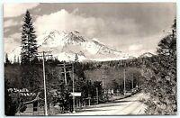 VTG Postcard Real Photo RPPC Mt Shasta California CA Road Log Cabin Tree Snow B1
