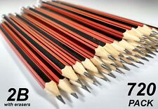 BULK 60 Pack 2b Lead Pencils With Erasers Red Stripe Barrel
