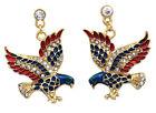 4th of July USA American Flag Patriotic Design Dangling Eagle Post Earrings