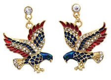 4th of July USA American Flag Patriotic Design Dangling  Eagle Post Earrings