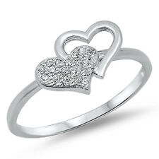 Women's Heart White CZ Cluster Promise Ring .925 Sterling Silver Band Sizes 4-9