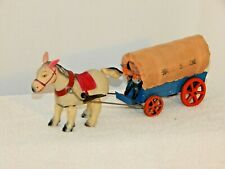 VINTAGE OCCUPIED JAPAN WIND UP HORSE & PRAIRIE SCHOONER WAGON WITH GIRL DRIVER