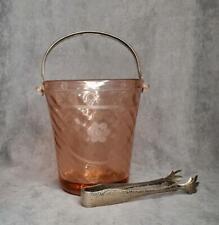 Vintage Pink Depression Glass Ice Bucket Metal Handle Tongs