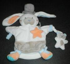 Doudou Lapin Blanc Charlestone Marionnette Chapeau Etoile Orange Bébé9 Bébé 9