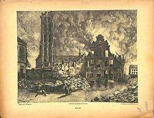 Fire Incendie Ruines Malines Bataille de Flandres Paul Madeline Peintre 1914 WWI