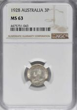 1928 M Australia 3 Pence, NGC MS 63, Brilliant and Lusterous