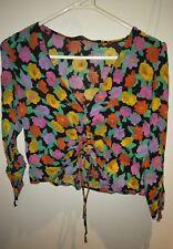 ZARA Trafaluc 90's Bright Floral Multi-Colour drawstring front crop top XS