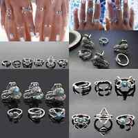 6Pcs Boho Women Elephant Turquoise Arrow Moon Midi Gothic Finger Rings Set