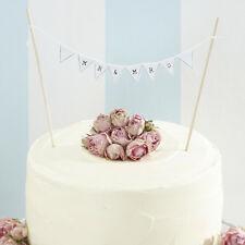 Onorevole & Mrs CAKE TOPPER MINI BIANCO Bunting VINTAGE WEDDING CAKE DECORAZIONE